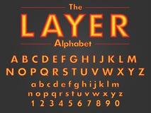 Vecteur de police multicouche lumineuse colorée et d'alphabet illustration stock