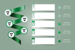 Vecteur de présentation d'Infographic dans la couleur verte Image libre de droits