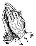 Vecteur de prière de mains