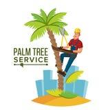 Vecteur de règlage de palmier Arbre ou retrait de règlage à l'élagage d'arbre Illustration de personnage de dessin animé illustration libre de droits