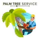 Vecteur de retrait de palmier Arbre ou retrait de règlage à l'élagage d'arbre Illustration plate de bande dessinée illustration stock