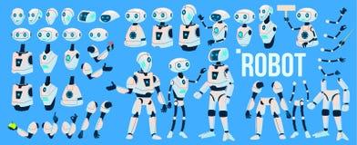 Vecteur de robot Ensemble d'animation Aide de robot de mécanisme Cyborgs, caractère futuriste de humanoïde d'AI Artificiel animé illustration stock