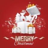 Vecteur de rouge d'abrégé sur boîte-cadeau d'éléments de Noël Photo libre de droits