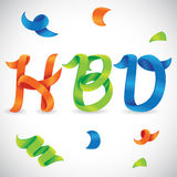 Vecteur de ruban de mots de joyeux anniversaire image stock