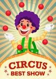 Vecteur de Show Poster Template de clown de cirque Parc d'attractions de partie Pour votre publicité Illustration Images stock