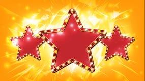 Vecteur de signe d'étoile Élément rougeoyant Rétro bannière d'étoile d'or de la lumière trois Film de première, exposition, disco illustration de vecteur