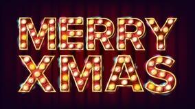 Vecteur de signe de Joyeux Noël Carnaval, cirque, style de casino Affiche, calibre de brochure La publicité moderne de Noël Images stock
