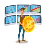 Vecteur de signe de Standing With Big Bitcoin d'homme d'affaires Moniteurs marchands et tendance Argent de Digital Investissement Image libre de droits