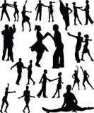 Vecteur de silhouette de gens de danse illustration stock