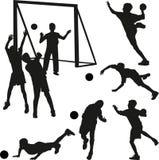 Vecteur de silhouette de joueur de handball Image libre de droits