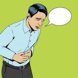 Vecteur de souffrance d'art de bruit de douleur abdominale d'homme rétro Photos libres de droits