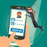 Vecteur de Stealing Personal Data de voleur Caractère de pirate informatique L'information personnelle d'utilisateur de fente Pêc Images libres de droits