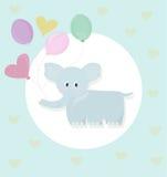 Vecteur de style d'enfance de bande dessinée d'éléphant et de ballons illustration stock