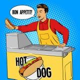 Vecteur de style de bande dessinée d'art de bruit de type de hot-dog Image libre de droits