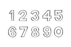 Vecteur de style dessiné de griffonnage de chiffres à disposition Nombres de griffonnage image libre de droits