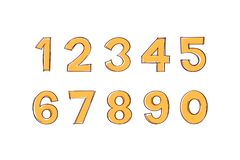 Vecteur de style dessiné de griffonnage de chiffres à disposition Nombres de griffonnage images libres de droits