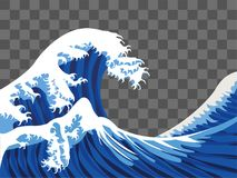 Vecteur de style de peinture du Japon de vague de mer illustration libre de droits
