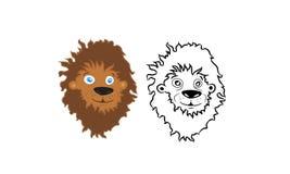 Vecteur de tête de lion de bande dessinée Photo libre de droits
