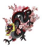 Vecteur de tatouage de dragon pour l'autocollant Photos stock