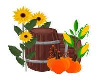 Vecteur de tournesol, de maïs, de potiron et de baril de récolte d'automne illustration de vecteur