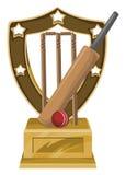 Vecteur de trophée avec la batte, la boule et le tronçon de cricket Photographie stock libre de droits