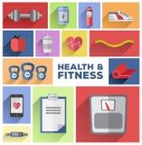 Vecteur de tuiles de santé et de forme physique Image libre de droits