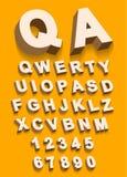Vecteur de type alphabet de vintage avec l'effet du threedimentional 3d illustration stock