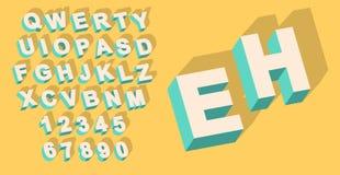 Vecteur de type alphabet de vintage avec l'effet du threedimentional 3d illustration libre de droits