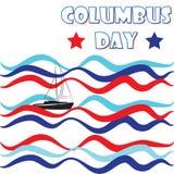 Vecteur de vagues heureux de bateau de Columbus Day America Image stock