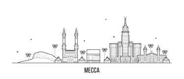 Vecteur de ville de l'Arabie Saoudite d'horizon de Mecca Makkah grand illustration stock