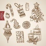 Vecteur de vintage tiré par la main d'arbre de nouvelle année de Noël le rétro objecte illustration stock