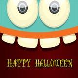 Vecteur de visage de monstre Carte de voeux de Halloween Images libres de droits