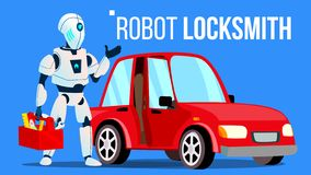 Vecteur de voiture de Repairing A de serrurier de robot Illustration d'isolement illustration de vecteur