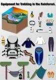 Vecteur de voyage d'illustration, équipement pour le trekking dans la forêt tropicale Photographie stock