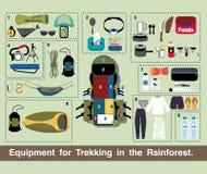 Vecteur de voyage d'illustration, équipement pour le trekking dans la forêt tropicale Photos stock