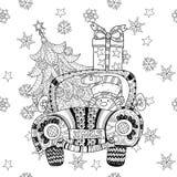 Vecteur de zentangle de griffonnage de cadeau de voiture de Noël Photographie stock libre de droits