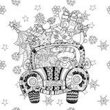 Vecteur de zentangle de griffonnage de cadeau de voiture de Noël Images libres de droits