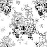 Vecteur de zentangle de griffonnage de cadeau de voiture de Noël Photos stock