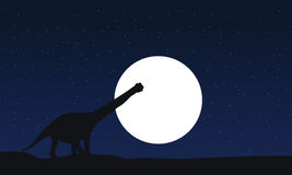 Vecteur des silhouettes de scnery d'argentinosaurus la nuit Photographie stock libre de droits