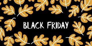 Vecteur des textes de vente de Black Friday avec les feuilles tirées par la main blanches et d'or sur le fond noir Vendredi noir  illustration de vecteur