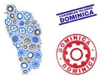 Vecteur Dominica Island Map de collage de vitesse et joints grunges illustration de vecteur