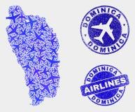 Vecteur Dominica Island Map de composition en lignes aériennes et joints grunges illustration de vecteur