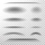 Vecteur doux transparent d'ombre Ombres ovales et rondes réalistes réglées Effet de Tab Dividers Lower Shadow Shade Photos libres de droits