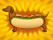 Vecteur drôle d'art de bruit de métaphore de hot-dog Image stock