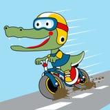 Vecteur drôle de bande dessinée d'alligator sur la bicyclette illustration stock