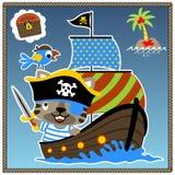 Vecteur drôle de bande dessinée de pirate Photos stock