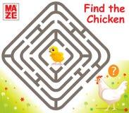 Vecteur drôle Maze Game avec le poulet de bande dessinée Photo libre de droits