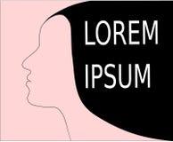 Vecteur du côté front de vue de Madame Woman avec le vecteur simple propre de l'espace de cheveux noirs de lorem ipsum illustration stock