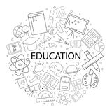 Vecteur Educati sur le modèle avec le mot Fond d'éducation Images stock