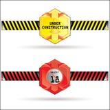 Vecteur en construction et étiquette de limite de l'âge 18+ illustration de vecteur